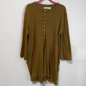 Free People Olive Green Ribbed Tunic / Sweater